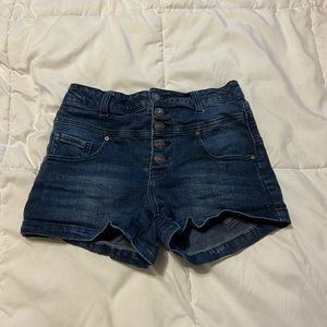 Button Up High Waisted Blue Jean Shorts